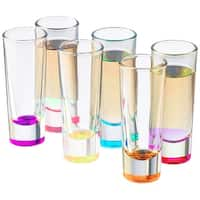Palais Glassware Heavy Base Shot Glass Set (Set of 6) 2 Oz. (Bottom Colored)