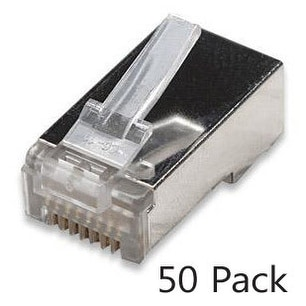 Cat5e Shielded RJ45 Connectors, Stranded, 50mn Gold Plating, 50pc