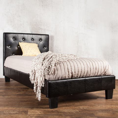 Silver Orchid Heston Tufted Twin Faux Leather Platform Bed