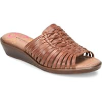 Comfortiva Womens Felida Leather Open Toe Casual Slide Sandals