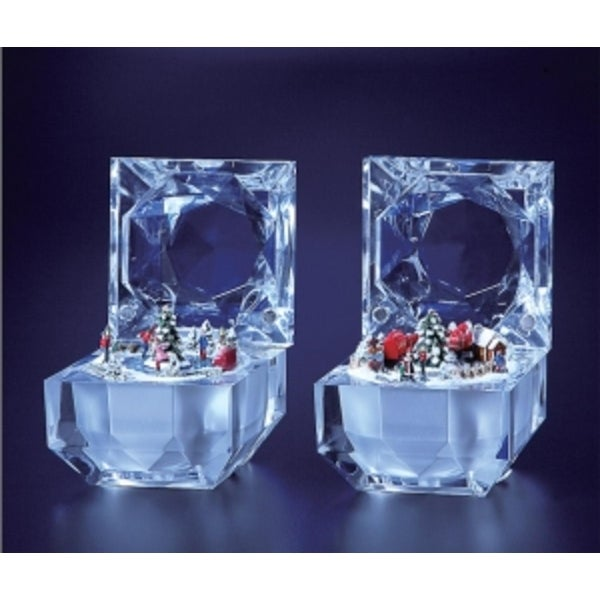 Pack of 4 Icy Crystal Decorative Christmas Music Boxes 2.8""
