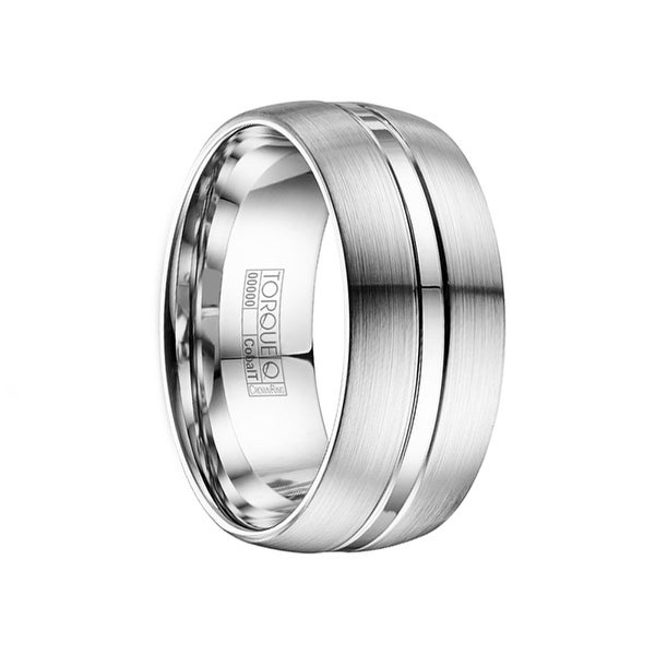 GORDO Domed Satin & Polished Finish Cobalt Wedding Ring with Dual Grooves by Crown Ring - 8mm