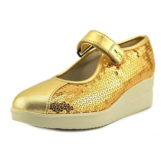 Ruco Line Jarito Women Round Toe Leather Gold Mary Janes