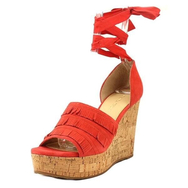 Ivanka Trump Zabre Women Open Toe Suede Red Wedge Sandal