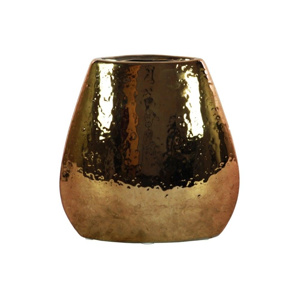 Elliptical Hammered Pattern Bellied Vase, Copper