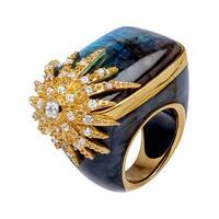 Cristina Sabatini Labradorite Starburst Ring in 14K Gold-Plated Sterling Silver - grey