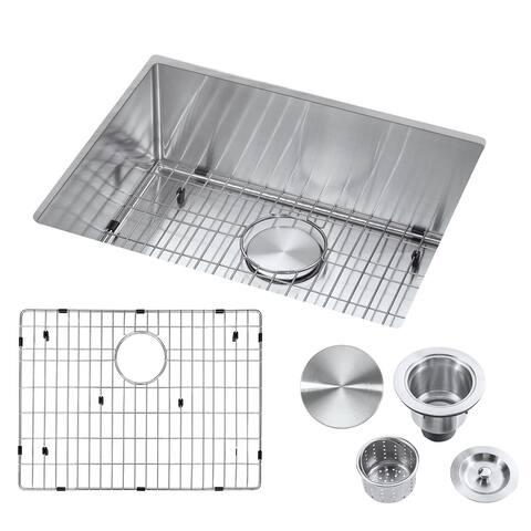 "23"" Undermount Single Bowl Stainless Steel Handmade Kitchen Sink & Drain Strainer, Bottom Grid, All in One (23"" x 18"" x 9"")"