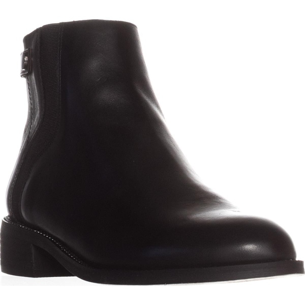 Franco Sarto Brandy Flat Casual Ankle Boots, Black Leather