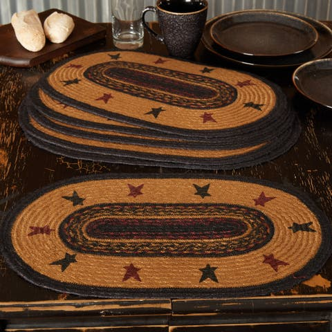 Heritage Farms Star Jute Placemat Set of 6 12x18 - Placemat 12x18