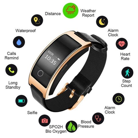 Blood Pressure Heart Rate Monitor Bluetooth 4.0 Smart Wristband for iOS and Android