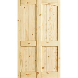 "Frameport KPN-BI-NR4P-6-2/3X2-H  Knotty Pine 24"" by 80"" Rebated 4 Panel Arch Top Interior Bifold Door with Installation Hardware"