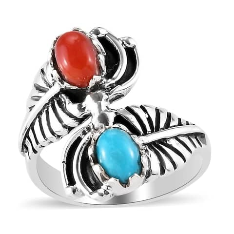 Shop LC 925 Sterling Silver Coral Sleeping Beauty Turquoise Ring Ct 1