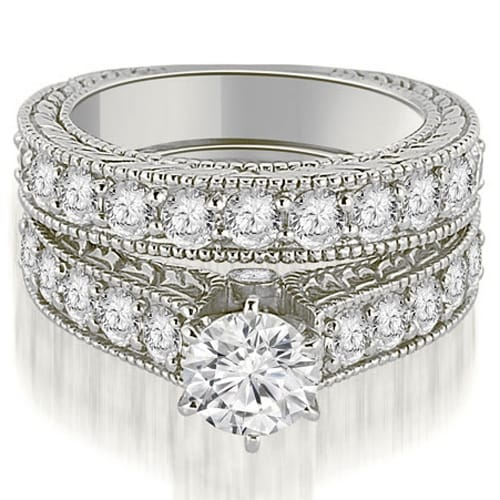 2.65 cttw. 14K White Gold Antique Cathedral Round Cut Diamond Engagement Set,HI,SI1-2