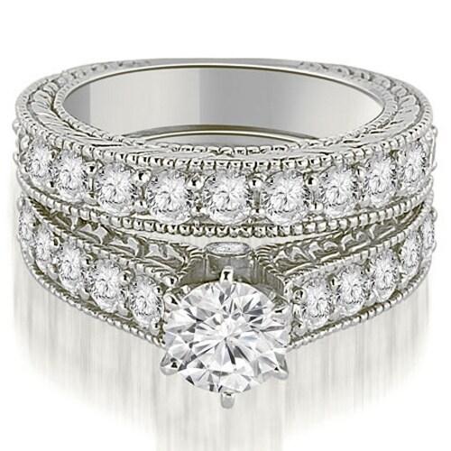 3.15 cttw. 14K White Gold Antique Cathedral Round Cut Diamond Engagement Set,HI,SI1-2