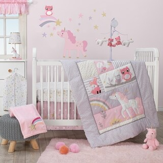 Bedtime Originals Purple Rainbow Unicorn 3-Piece Crib Bedding Set