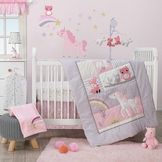 Bedtime Originals Rainbow Unicorn with Fox, Squirrel and Owls Pink/Purple 3-Piece Baby Nursery Crib Bedding Set
