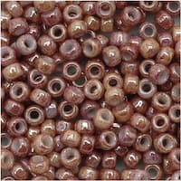 Toho Round Seed Beads 8/0 1201 'Marbled Opaque Beige/Pink' 8 Gram Tube