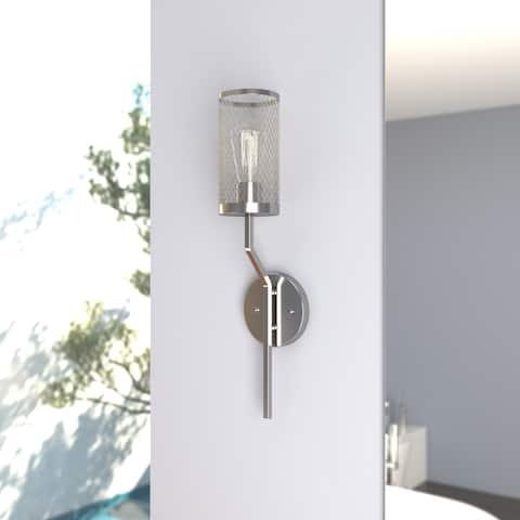 Byron 1 Light Gray Urban Loft Bathroom Vanity Fixture Wall Sconce - 4.75-in. W x 20-in. H x 5-in. D