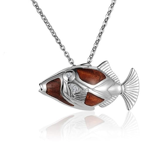 "Humuhumunukunukuapua'a Fish Necklace Koa Wood Sterling Silver Pendant 18"" Chain"