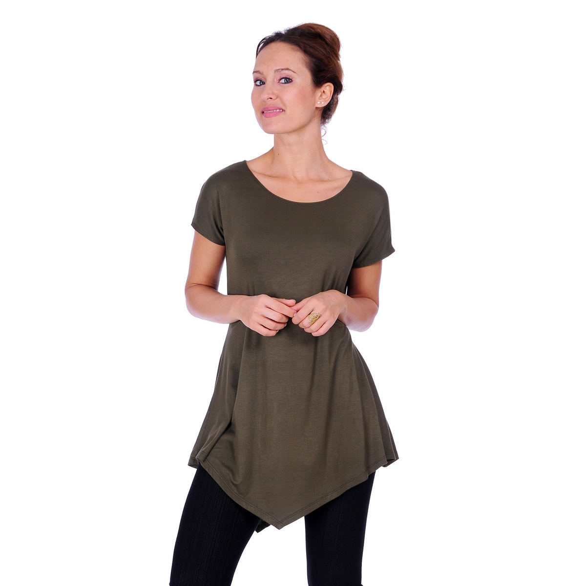 Simply Ravishing Women's Assymetrical Front/Back Handkerchief Hem Sleeveless Tunic Top - Thumbnail 4