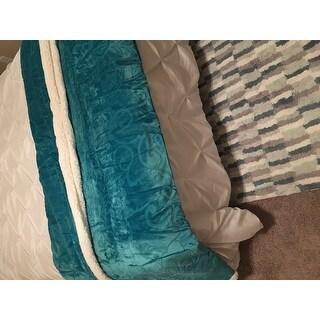 Windsor Home Floral Fleece Reversible Sherpa Plush Throw Blanket