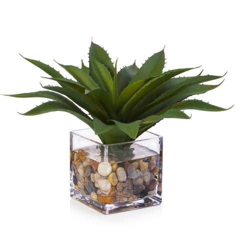 Enova Home Artificial Succulent Plant Faux Plant in Cube Glass Vase with River Stone Home Office Garden Decór - Green