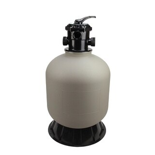 """16"""" High Performance Top-Mount Pool and Spa Sand Filter with 6-Way Valve - 100 lbs. Sand Required - Black"""
