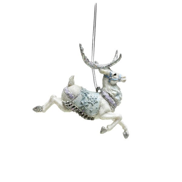 """3.75"""" Ice Palace White Glitter Prancing Reindeer Christmas Ornament - BLue"""