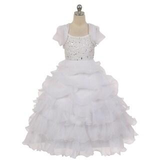 Chic Baby Girls White Pearl Layered Organza Bolero Flower Girl Dress 8-16 (Option: 16)