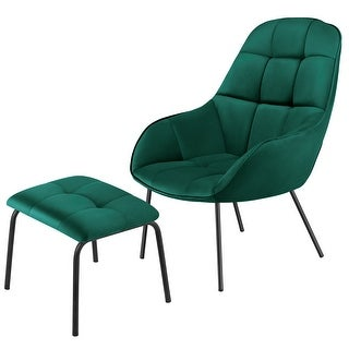 VECELO Recliner Chair Velvet Fabric Arm Chairs Lounger with Ottoman Chair (Green)