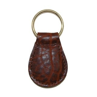 Boston Leather Textured Bison Leather Tear Drop Key Fob - One size