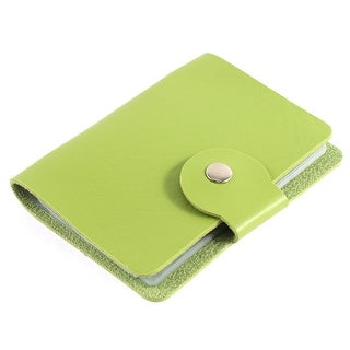 Unisex Faux Leather Rectangular Button Press Bank Credit ID Card Holder Green