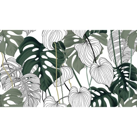 Hibiscus Tropical Flowers Removable Wallpaper - 10'ft H x 24''inch W