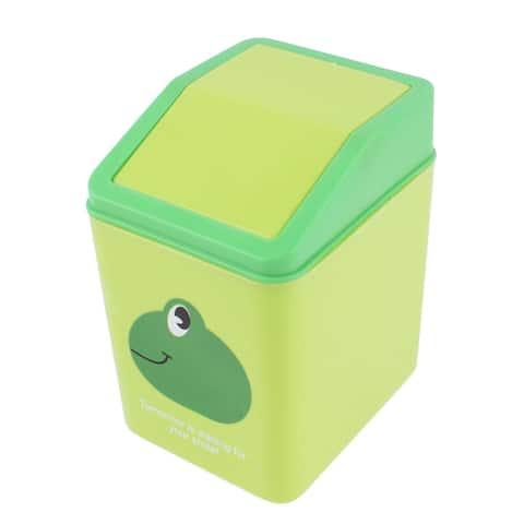 Home Office Desktop Plastic Green Frog Pattern Rubbish Bin w Swinging Door