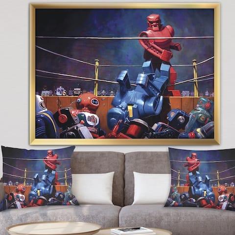 Designart 'Robot Boxing' Modern & Contemporary Premium Framed Art Print