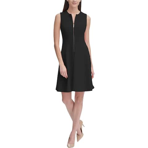 Tommy Hilfiger Womens Fit & Flare Dress Sleeveless Zip Front - Black