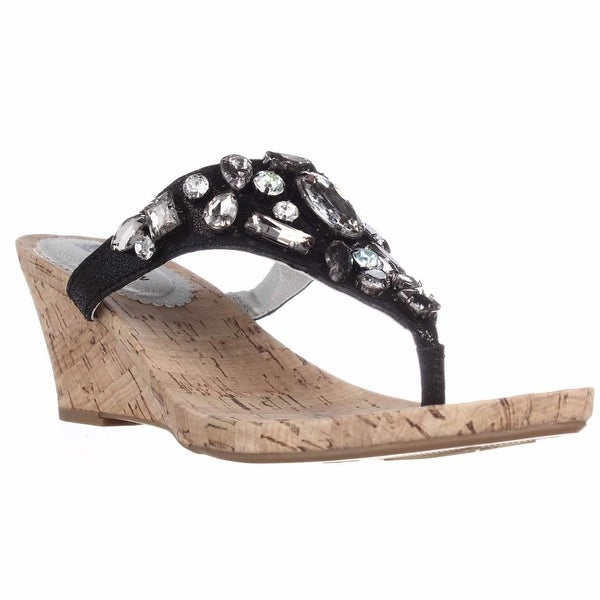 White Mountain Ablaze Jeweled Wedge Thong Dress Sandals, Onyx Multi