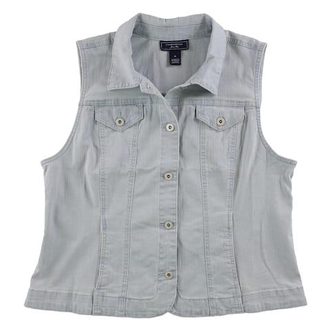 Charter Club Womens Casual Denim Vest