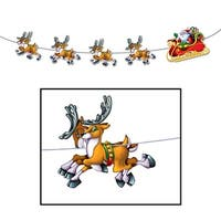 Pack of 12 Santa and Reindeer Jointed Streamer Christmas Decorations 8'