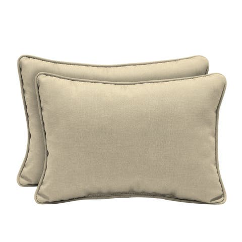 Arden Selections New Tan Leala Texture Outdoor Oversized Lumbar Pillow 2-Pack - 15 in L x 22 in W x 6 in H