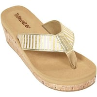 Tidewater Sandals Women's Onslow Gold Wedge Gold/White