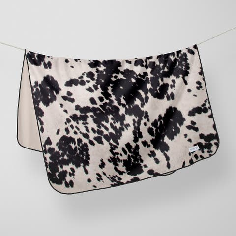 Glenna Jean Crib Quilt Baby Blanket Super Soft and Warm Cow Black & White