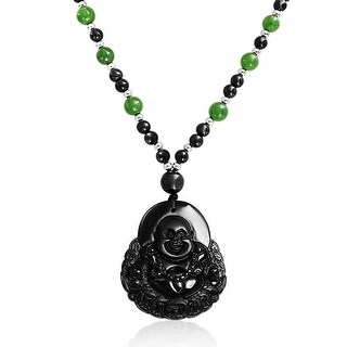 Laughing Buddha Obsidian Pendant Sythetic Jade Bead Necklace 26 Inches - Black