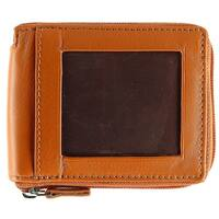 CTM® Men's Leather Zip-Around Wallet with Exterior ID Window - One size