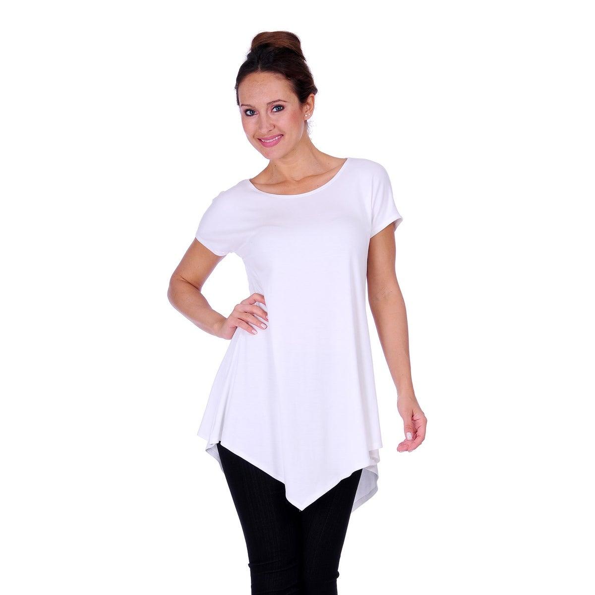 Simply Ravishing Women's Assymetrical Front/Back Handkerchief Hem Sleeveless Tunic Top - Thumbnail 5