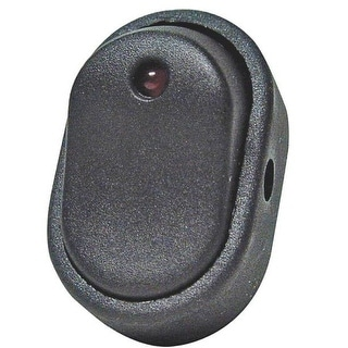 Calterm 40393 Black Oval Rocker Switch, Red Led