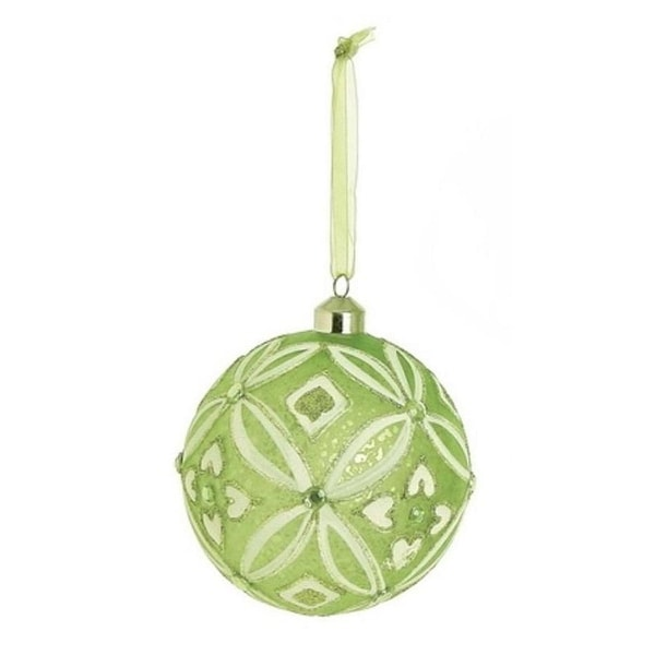 "4"" Enchanted Forest Green Glittered and Frosted Glass Ball Christmas Ornament"