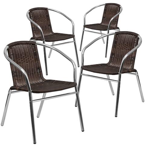 4 Pack Aluminum and Rattan Commercial Indoor-Outdoor Restaurant Stack Chair