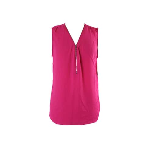 Inc International Concepts Intense Pink Sleeveless Zippered Blouse S