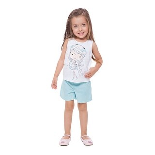 Toddler Girl Outfit Little Girls Graphic Tank Top and Shorts 2pc Set 1-3 Years